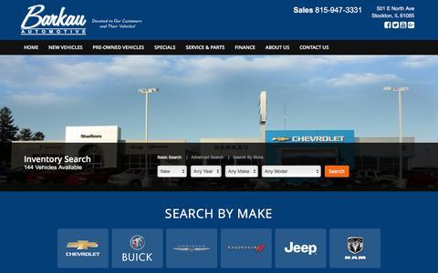 Screenshot of Home Page barkauautomotive.com - Jeep Chevrolet Dodge GMC Chrysler new used car dealer in Stockton IL - Barkau Automotive - captured Aug. 1, 2018