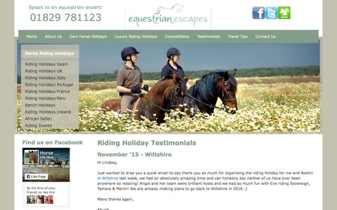 Screenshot of Testimonials Page equestrian-escapes.com - Riding Holiday Testimonials | Riding Holiday Reviews | Portugal | UK | Spain | Italy | Horse - captured Dec. 5, 2015