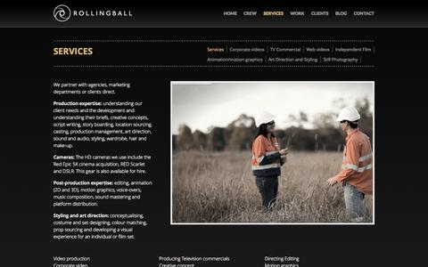 Screenshot of Services Page rollingball.com.au - Services - Rollingball Productions - captured Oct. 7, 2014