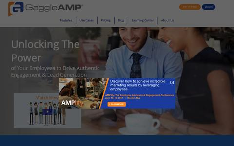 Screenshot of Home Page gaggleamp.com - Social Media Engagement and Reach Amplification Platform | GaggleAMP - captured March 22, 2017
