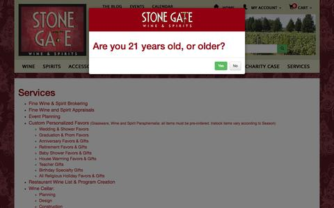 Screenshot of Services Page stonegatewines.com - Stone Gate Wine & Spirits - captured Oct. 25, 2017