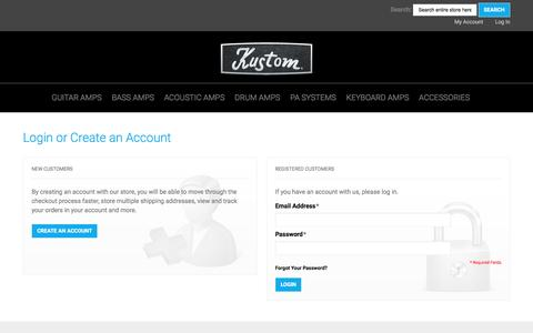 Screenshot of Login Page kustom.com - Customer Login - captured Nov. 27, 2016