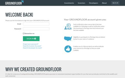 Screenshot of Login Page groundfloor.us - GROUNDFLOOR | The new finance, raised to the power of us - captured July 19, 2014