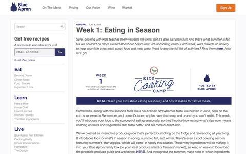 Screenshot of blueapron.com - Week 1: Eating in Season | Blue Apron Blog - captured July 11, 2017