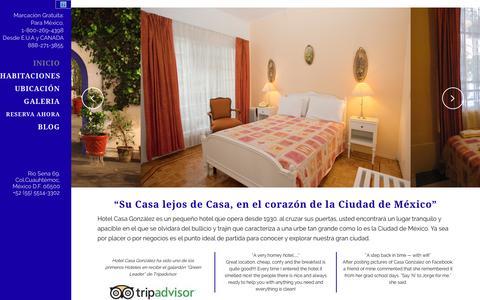 Screenshot of Home Page hotelcasagonzalez.com - Hotel Casa González   Su Casa lejos de Casa, en el corazón de la Ciudad de México - captured Sept. 20, 2015
