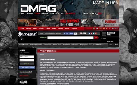 Screenshot of Privacy Page rap4.com - Privacy Statement RAP4.com Catalog - captured Oct. 26, 2014