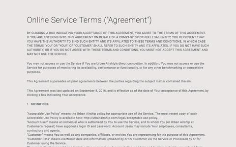 Screenshot of Support Page urbanairship.com - Online Service Terms | Legal | Urban Airship - captured Nov. 9, 2016