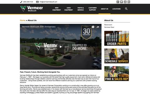 Screenshot of About Page vermeermidsouth.com - About Us | Vermeer MidSouth - captured Sept. 20, 2018