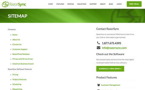 RazorSync HTML Website Sitemap