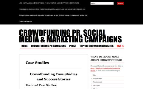 Screenshot of Case Studies Page wordpress.com - Case Studies | Crowdfunding PR, Social Media & Marketing Campaigns - captured Nov. 25, 2016