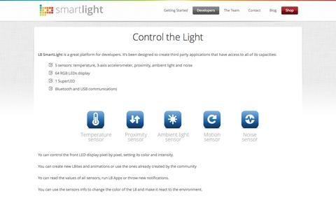Screenshot of Developers Page l8smartlight.com - Developers | L8 SmartLight - captured Nov. 5, 2014