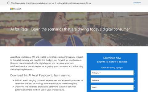 Screenshot of Landing Page microsoft.com - AI: The Future of Retail | Microsoft - captured March 3, 2018