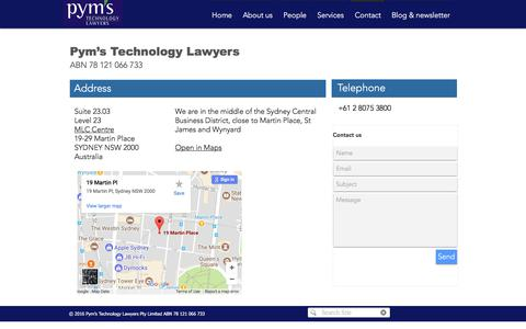 Screenshot of Contact Page pyms.com.au - Pym's Technology Lawyers Contact - captured Sept. 20, 2017