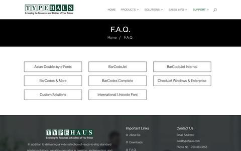 Screenshot of FAQ Page typehaus.com - F.A.Q. - Type Haus - captured Sept. 21, 2018
