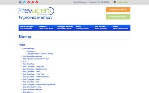 Screenshot of Site Map Page prevagen.com - Sitemap - Prevagen - captured Sept. 22, 2014