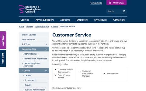 Screenshot of Support Page bracknell.ac.uk - Customer Service - captured Nov. 23, 2016