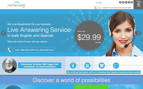Screenshot of Home Page astraqomusa.com - Virtual PBX by AstraQom, the best business VoIP provider - captured Dec. 26, 2015