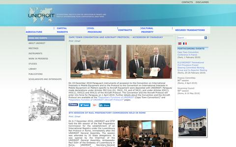 Screenshot of Home Page unidroit.org - UNIDROIT - News and events - captured Dec. 19, 2018