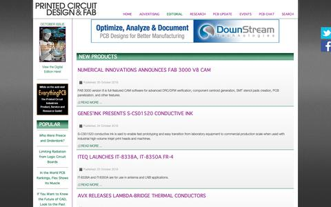 Screenshot of Products Page pcdandf.com - Printed Circuit Design & Fab Online Magazine - New Products - captured Oct. 31, 2018