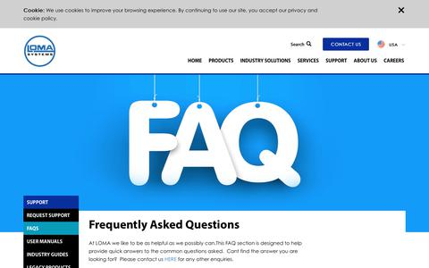 Screenshot of FAQ Page loma.com - Loma Systems | FAQs - captured Sept. 29, 2018