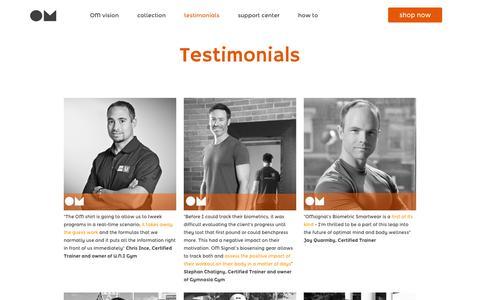 Screenshot of Testimonials Page omsignal.com - Testimonials – OMsignal - captured Dec. 17, 2014