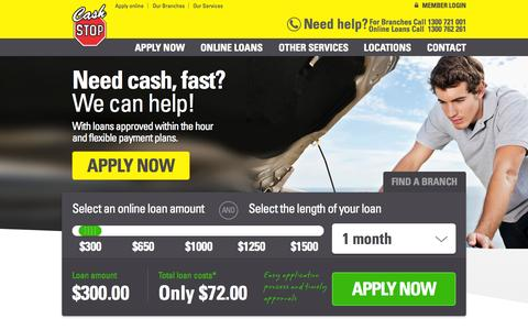 Screenshot of Press Page Jobs Page Site Map Page cashstop.com.au - Pay Day Advance Loans, Lenders, Quick, Instant, Online, Fast, Same Day, Easy Payday Loans For Unemployed, Cash Stop – Melbourne, Sydney, Adelaide, Brisbane, Perth, Australia - captured Oct. 22, 2014