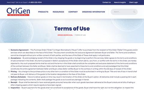 Screenshot of Terms Page origen.com - Terms of Use - Origen Biomedical - captured June 6, 2018