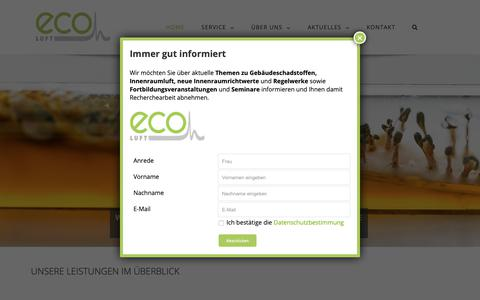 Screenshot of Home Page eco-luft.de - ECO-Luft | Luftqualität + Raumklima - captured Oct. 29, 2018