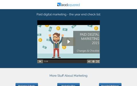 Screenshot of Landing Page leadsquared.com - Webinar Recording – Paid Digital Marketing The Year End Checklist - captured Jan. 3, 2017