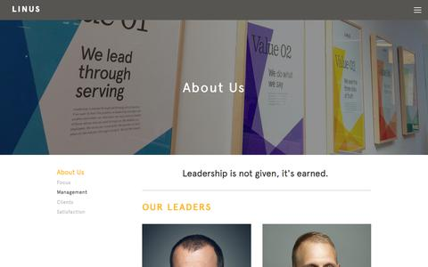 Screenshot of Team Page thelinusgroup.com - Management Team | Linus - captured March 22, 2018