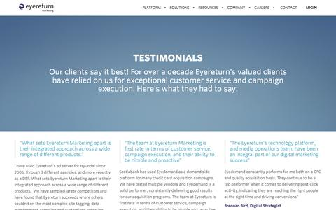 Screenshot of Testimonials Page eyereturnmarketing.com - Testimonials | Eyereturn Marketing - captured Dec. 15, 2015