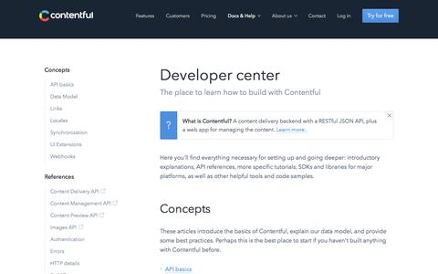 Developer center - Contentful