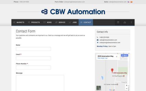 Screenshot of Contact Page cbwautomation.com - CBW Automation - The Future of Automation - captured May 11, 2017