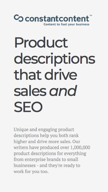 Constant Content - Product Description Writing Service