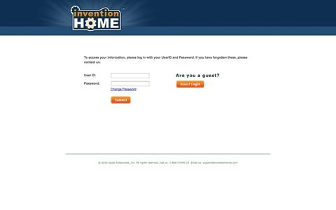 Screenshot of Login Page inventionhome.com - Search patent & invention portfolio: Edit data for your patent search or  			portfolio - captured Sept. 19, 2014