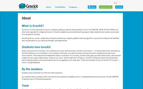 Screenshot of About Page grockit.com - Grockit | About - captured July 21, 2014