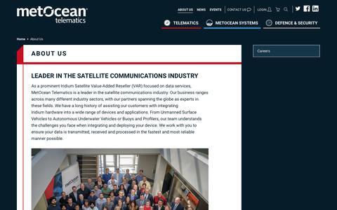 Screenshot of About Page metocean.com - Leading Global Iridium Satellite Reseller   MetOcean Telematics - captured June 30, 2018