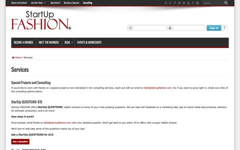 Screenshot of Services Page startupfashion.com - StartUp FASHION Consulting Services - captured Sept. 19, 2014