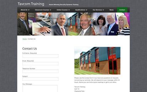 Screenshot of Contact Page tavcom.com - Contact Us - Tavcom Training - captured Oct. 7, 2014