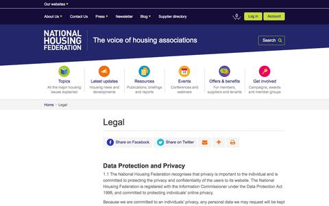 Screenshot of Terms Page housing.org.uk - Legal | National Housing Federation - captured July 17, 2017