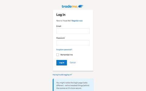 Screenshot of Login Page trademe.co.nz - Buy online and sell with NZ's #1 auction & classifieds site | Trade Me - captured Oct. 25, 2019
