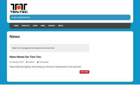 Screenshot of Press Page tentec.com - News - captured July 6, 2017