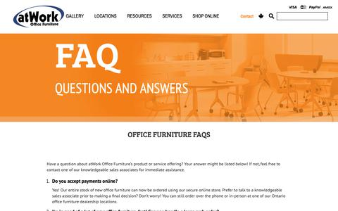 Screenshot of FAQ Page atwork.ca - Office Furniture FAQs - atWork Office Furniture Canada - captured Oct. 4, 2018