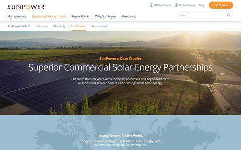 Screenshot of Case Studies Page sunpower.com - Commercial Solar Case Studies & Customer Reviews | SunPower - captured June 12, 2017