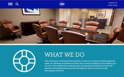 Screenshot of Services Page cbdcpa.com - Services - CBD - captured Feb. 1, 2016