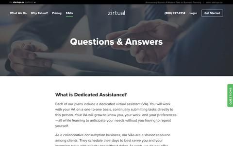 Screenshot of FAQ Page zirtual.com - Frequently Asked Questions | Zirtual - captured July 13, 2018