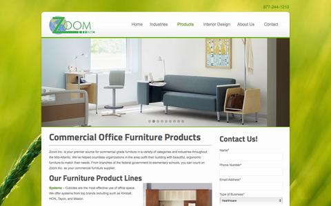 Screenshot of Products Page zoominc.org - Office Furniture | Desks, Chairs, Cubicles & More | MD, DC, VA - captured Jan. 12, 2016