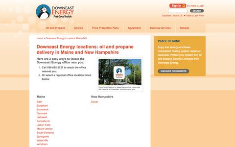 Screenshot of Locations Page downeastenergy.com - Downeast Energy Maine and NH Offices for Oil and Propane Delivery 24-7 - captured Oct. 5, 2014