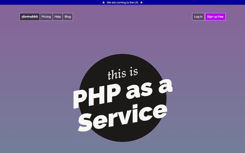 Screenshot of Home Page fortrabbit.com - PHP cloud hosting - captured Feb. 23, 2016