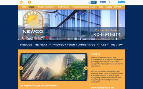 Screenshot of About Page newcosolarsolutions.ca - Window Film Port Coquitlam | About | Newco Solar Solutions - captured June 13, 2017